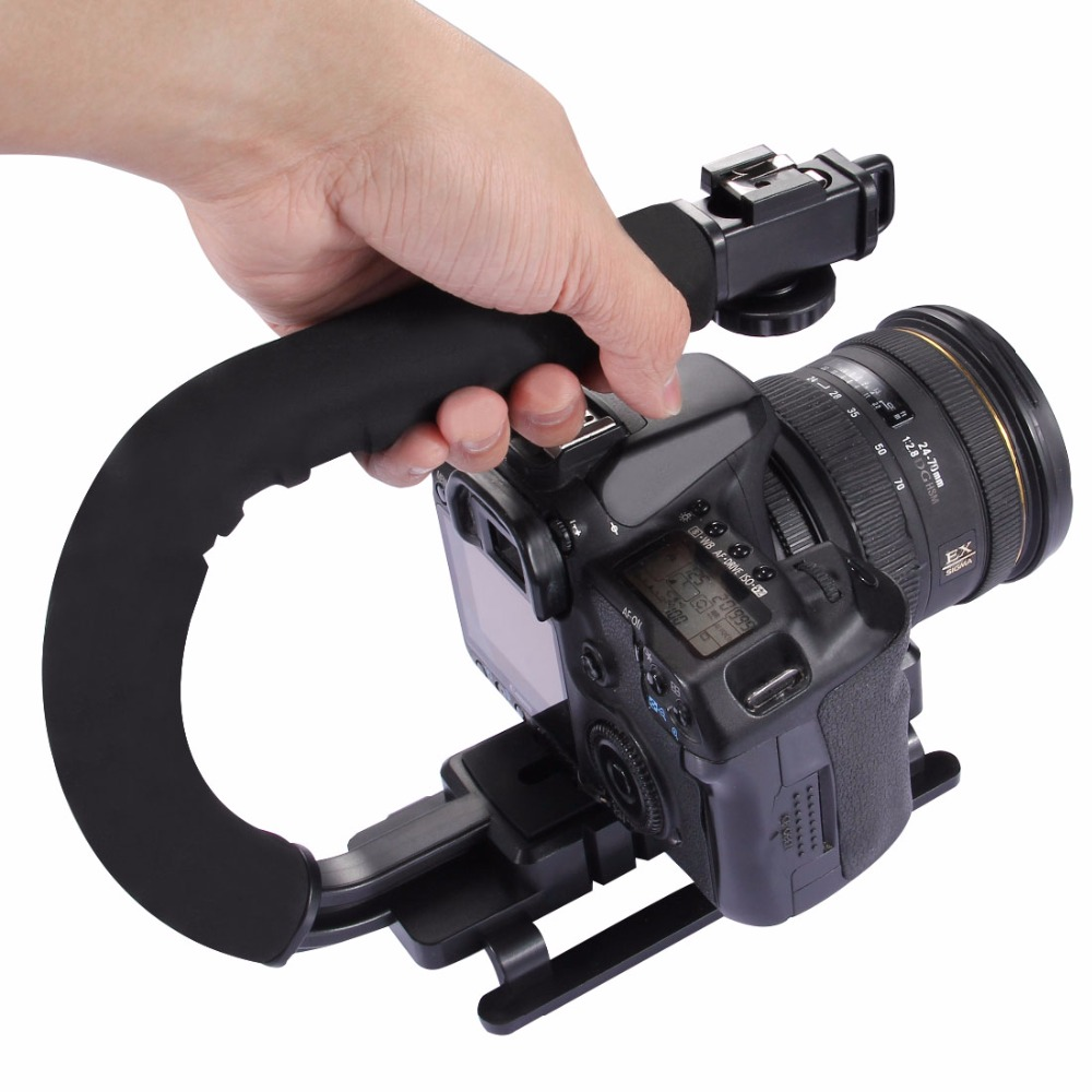 PULUZ C-shaped Video Handle DV Bracket Steadicam Stabilizer for All SLR Cameras and Home DV Camera