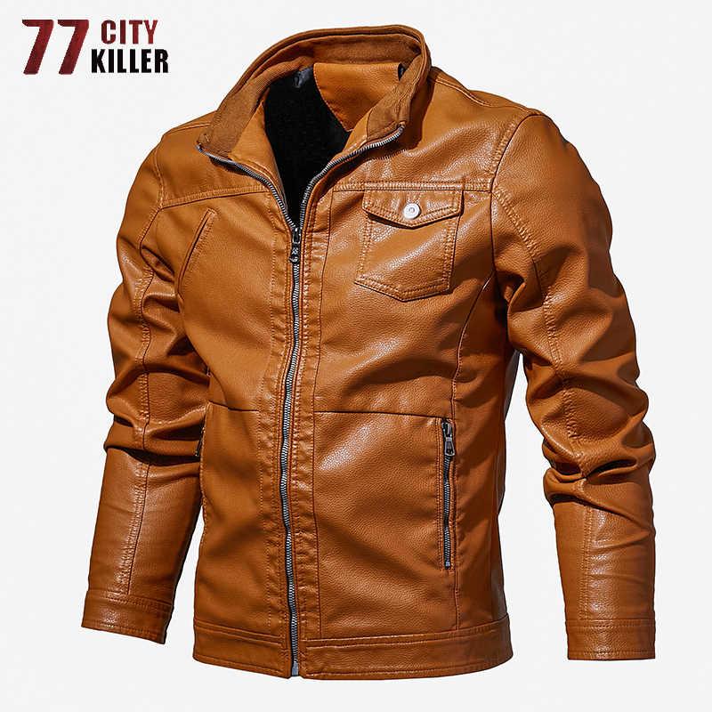 77 город убийца плюс размеры кожаные куртки для мужчин демисезонный мотоцикл пальто из ПУ мужской бренд Slim Fit chaqueta cuero hombre M-6XL