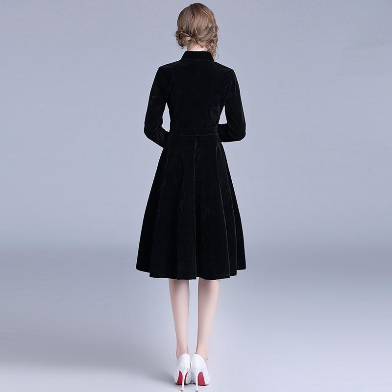Robe Vintage velours noir bureau Robe manches longues hiver femmes robes nouveauté 2019 Midi Robe de soirée Zomer Jurk K307 - 4