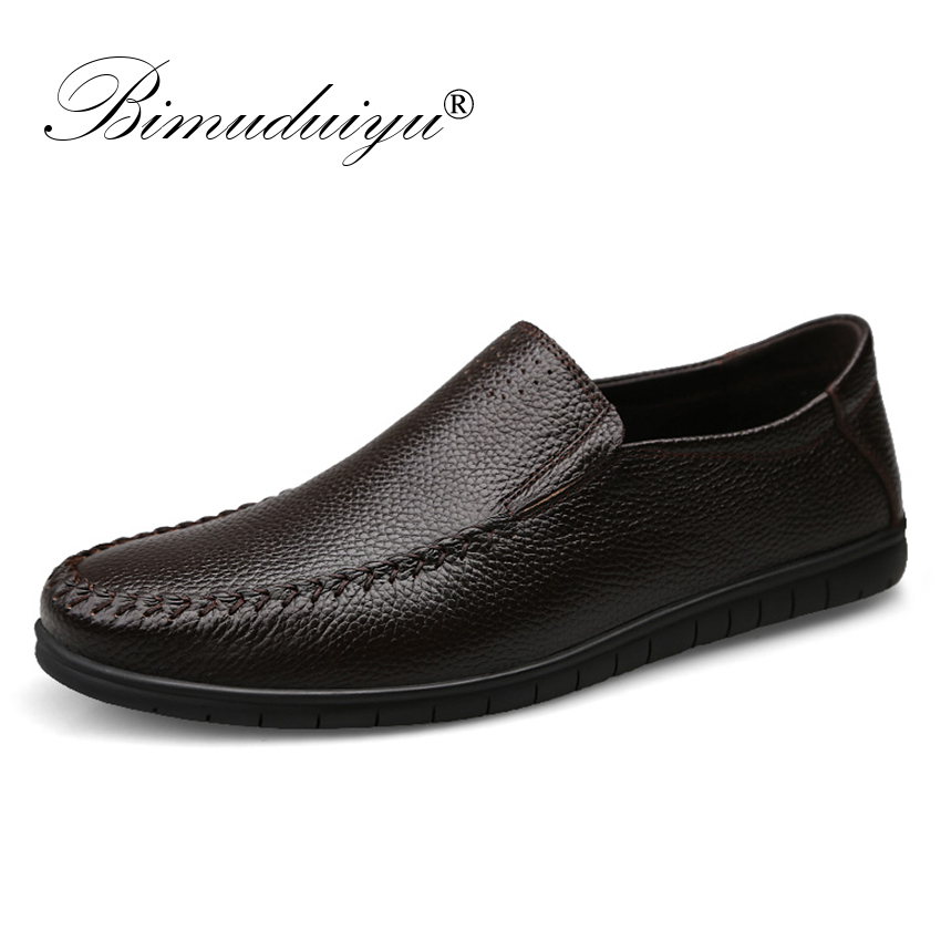 BIMUDUIYU Mens Moccasin Shoes Genuine Leather Comfortable Casual Italian Loafers Big Size 39-46 Design Driving Men Flat Footwear