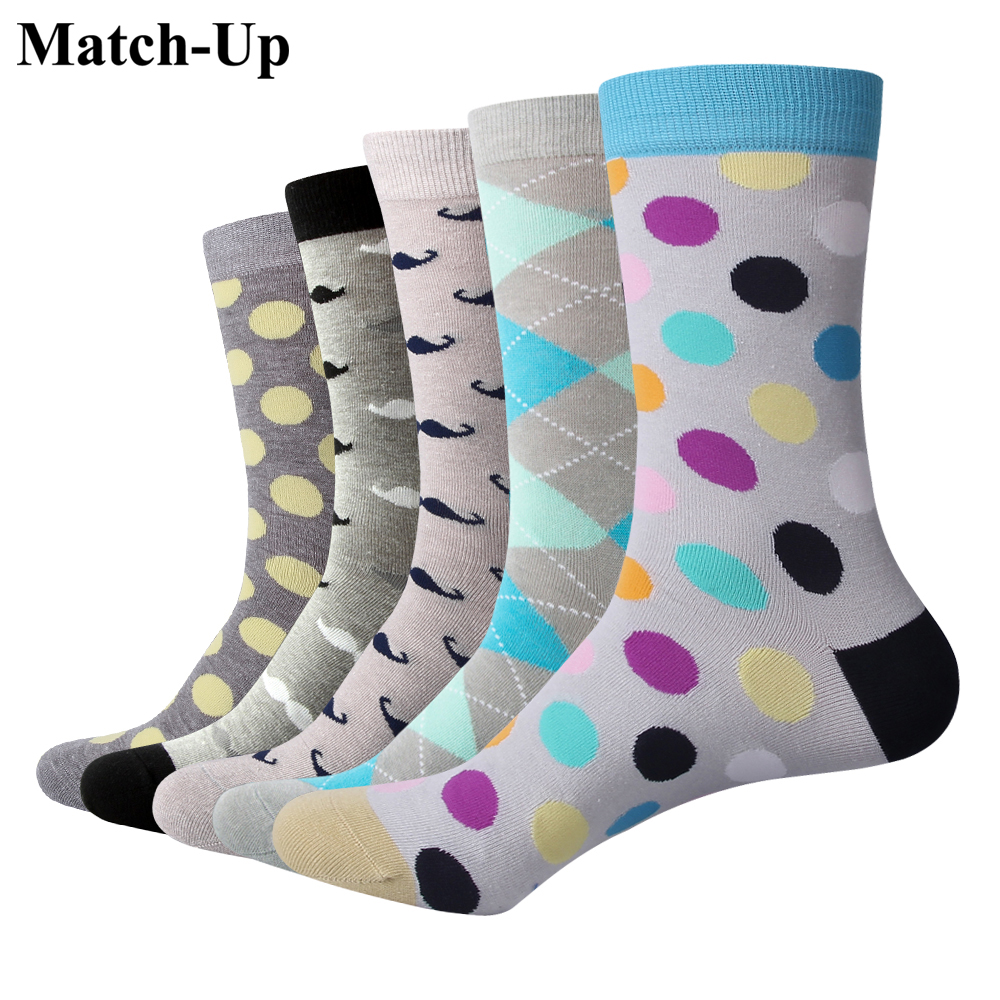 Match-Up Grey series of colored socks Socks Combed Cotton Spring Fall Plus Quality Pattern Dress Male Socks (5pairs/lot)