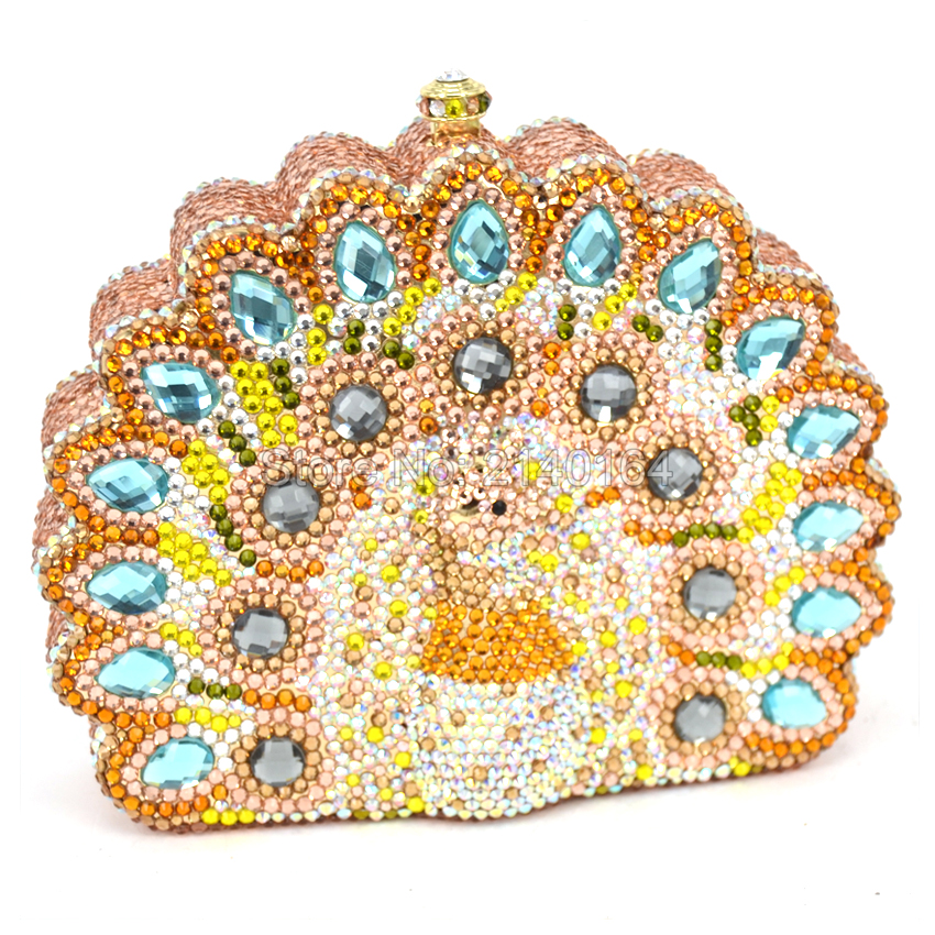 Здесь можно купить   Lady Peacock Shape Lord Fashion Women Handbags Party Day Clutches Box Purse Crystal Evening Bags Female Gold Wedding Design Q77 Камера и Сумки