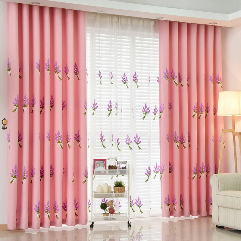 Lavender Pastoral Blackout Window Curtains Drapes Shades for Living ...