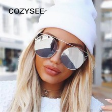 18f2601a90 cozysee Retro Oversized Round Sunglasses Trend Metal Frames Big Eyewear Red  Mirror