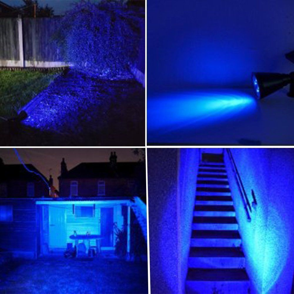 ao ar livre movido energia solar levou luz de cor azul 05