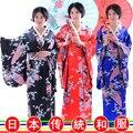 Винтаж Японский женская Шелковый Атлас Кимоно Юката Вечернее Платье японский стиль сценические костюмы Японский традиционный костюм