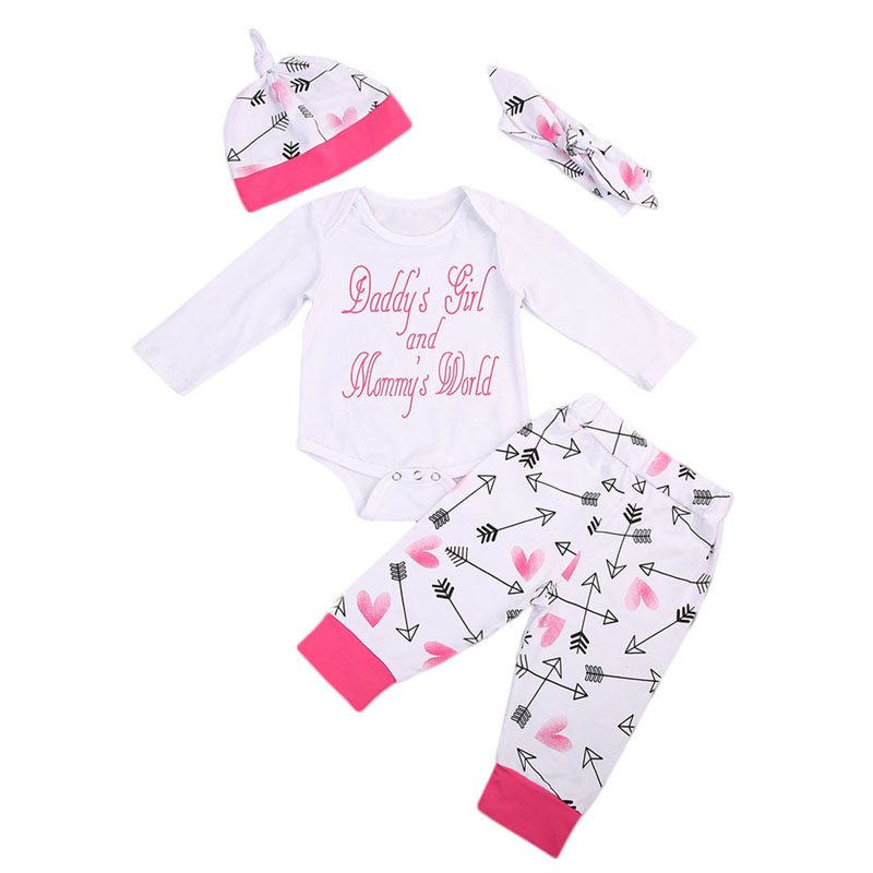 4PCS Newborn Baby Girls Clothes Playsuit Letter Print Long Sleeve Romper Pants Outfit Set 0-18M