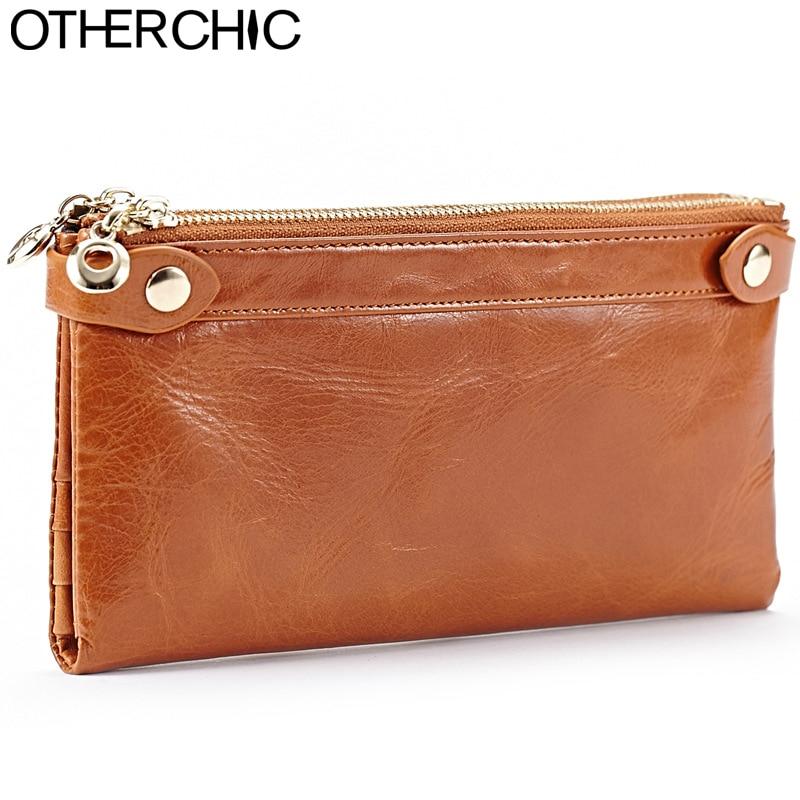 OTHERCHIC Women Long Wallet Genuine Leather Zipper Roomy Card Purses & Holders Coin Purse Fashion Ladies Clutch Wallets 7N03-52 цена и фото