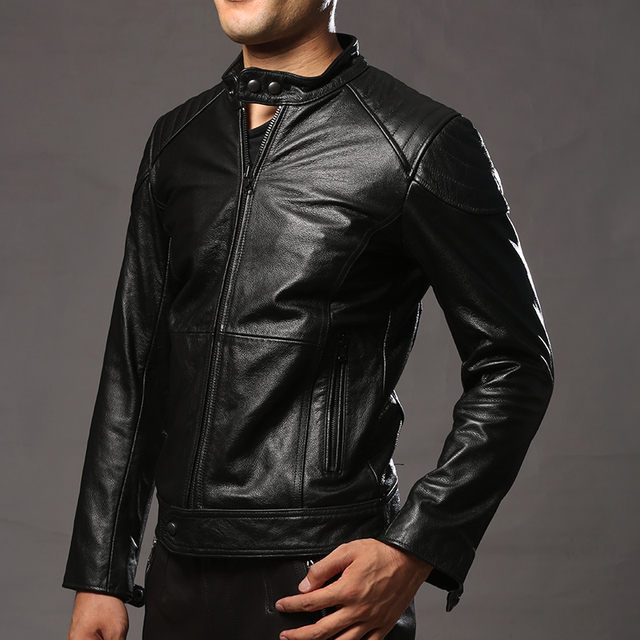 mens slim fit cow leather jacket casual short cowhide leather rider jacket