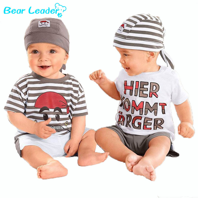 Bear Leader Babys Set 2016 New Cute Letter Baby Boy Suit Set 3Pieces Hat T-Shirt Pants Summer Outfit For Toddler Vestidos