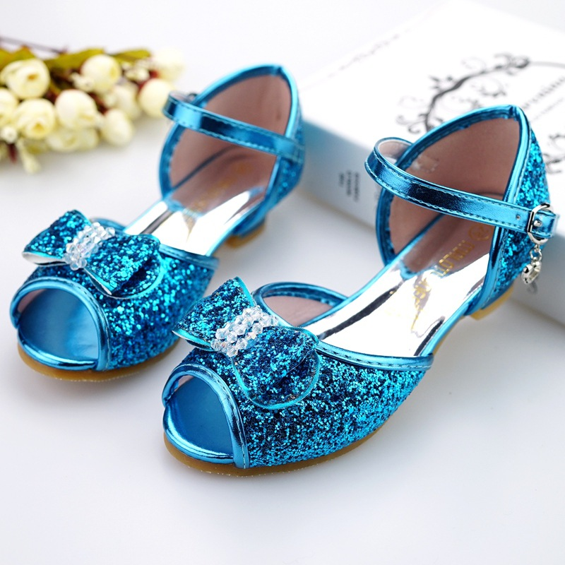 Bow bout princess sandals 2018 summer new girls sandals children's high heels fashion fish mouth sequins princess shoes thumbnail