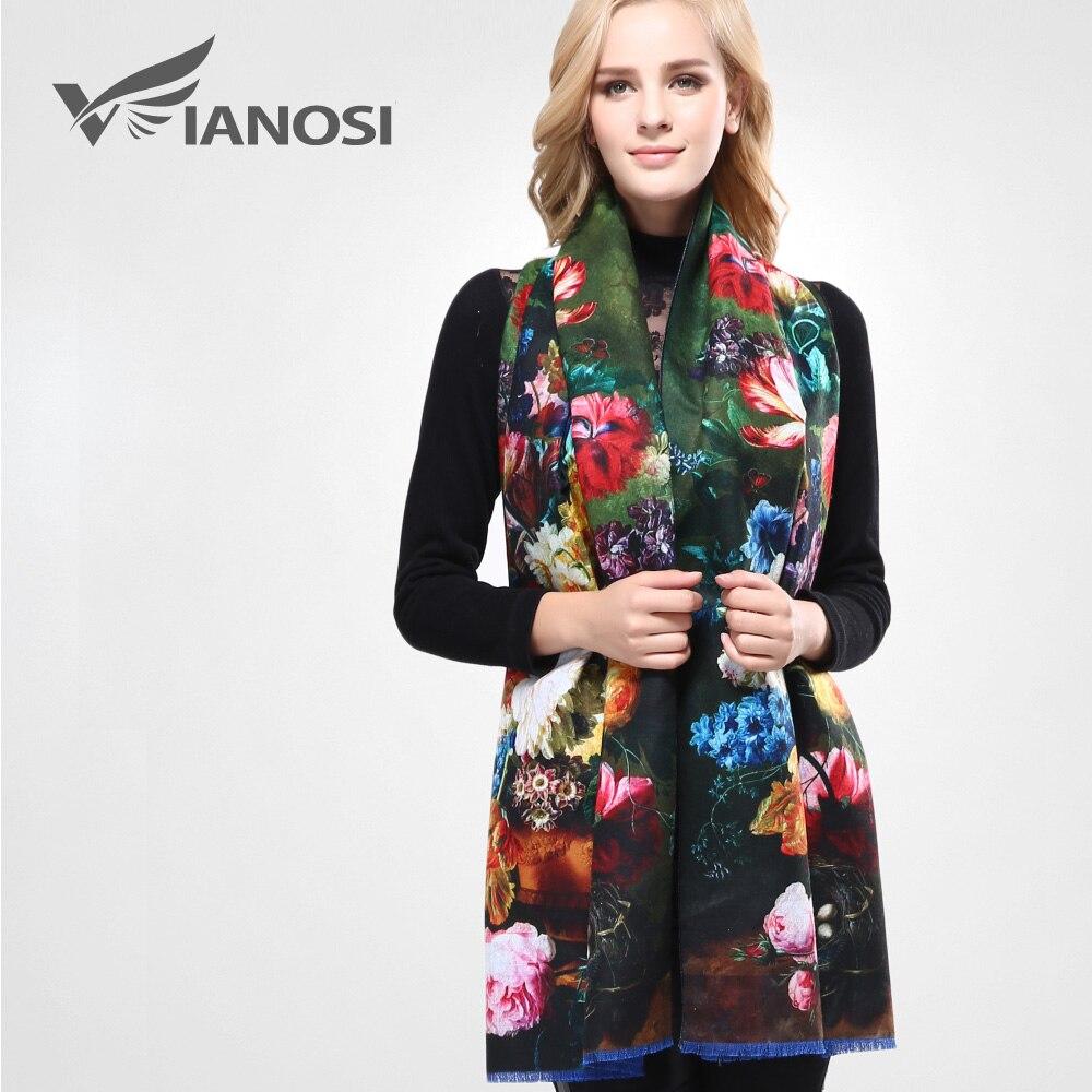 [VIANOSI] más nuevo diseño Bandana impresión bufanda de Invierno para mujer chales espesar caliente bufandas lana bufanda de la marca mujer abrigo VA070