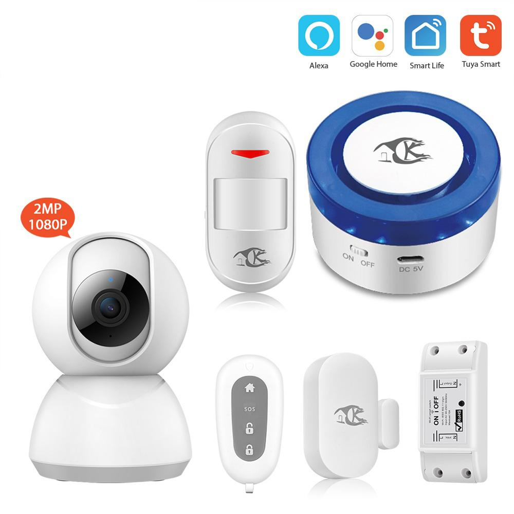 Tuya Smart WiFi Wireless Siren Home security WiFi Alarm Smart Siren Tuya Compatible with Alexa/Google Home