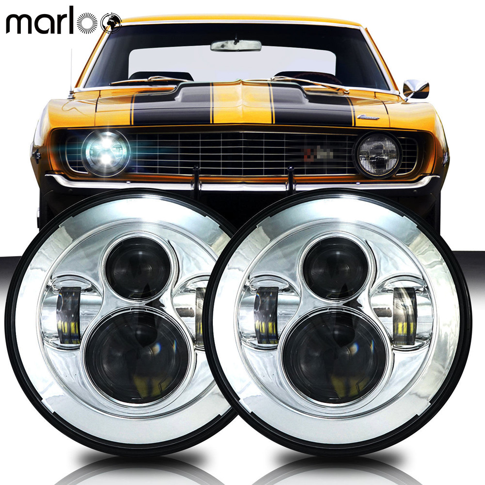 Marloo LED Projector Headlight 7 Round Headlamp Bulb Lamp Upgrade Set For Chevy Camaro 1967 1968 1969 1970 1971 1972 - 1981 d levertov levertov poems – 1968–1972 cloth