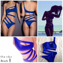 Women Bikini One Piece Monokini One Shoulder Cut Out