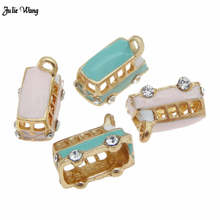Julie Wang 4pcs Mix Color Bus Ornament Charm Women Bracelet Necklace Pendant Keyring Hanging Craft Handmade Accessory 19*12*10mm
