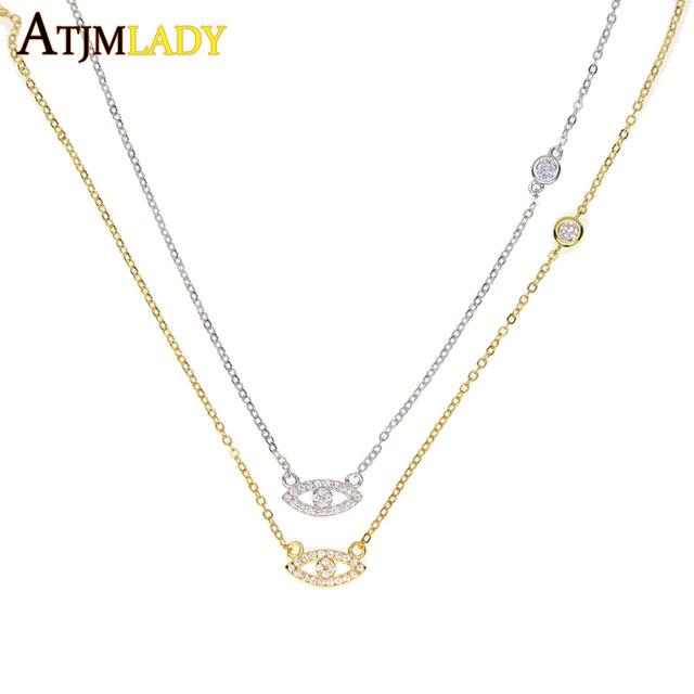 2018 new  sparking dainty thin chain fine silver 925 jewelry cute tiny evil eye bezel cz connector women charm necklace
