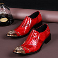 Italian Brand Oxford Shoes Men Genuine Leather Dress Wedding Shoes Metal Head Mens Adult Nightclub Shoe Sapato Social Masculino