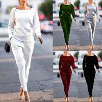 1 комплект = 2 шт. осень-зима спортивный костюм Для женщин костюмы пуловер Топ и штаны комплект для бега спортивных костюмов тренировочные шт...