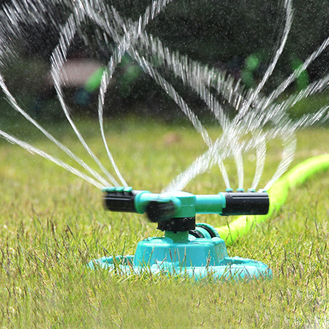 garden sprinklers water durable rotary three arm water sprinkler 360