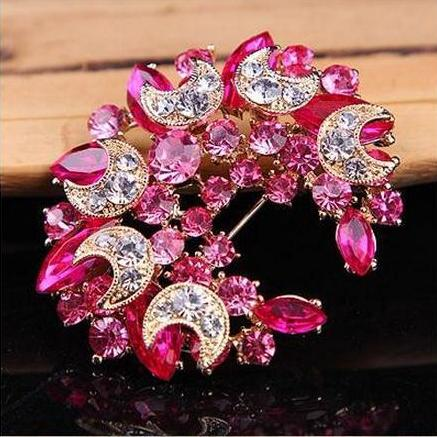 Бутоньерка на лацкан, булавки, прекрасный кристалл, модная женская свадебная брошь, хиджаб, булавки, ювелирные изделия, большой цветок, броши 20D - Окраска металла: pink
