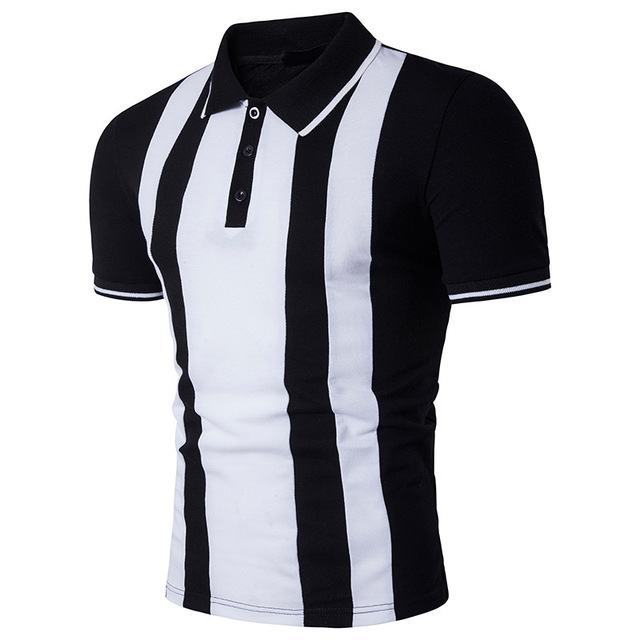 cf906651 Black And White Striped Men Polo Shirt Classic Style 2018 Summer New Cotton Polos  Shirts Short Sleeve Business Casual Polos B89