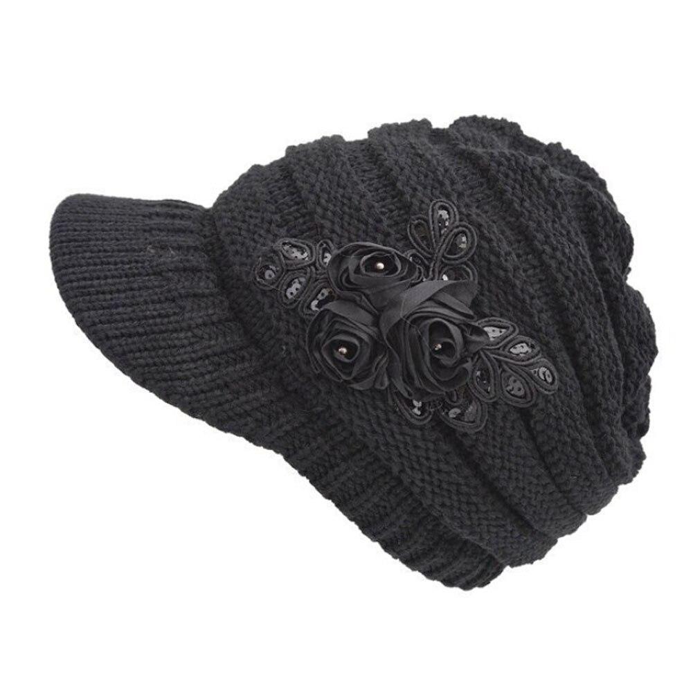 women men's good New autumn and winter warm wool knitted hat brim Sequin applique Beret Hat zlyc women winter wool felt wide brim fedora bowler hat floppy cloche bowknot cap