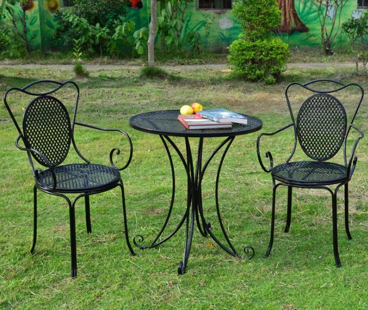 European Style Wrought Iron Tables And Chairs Outdoor Leisure Garden  Terrace Three Piece Suit Combinations Small Round Table And In Reception  Desks From ...