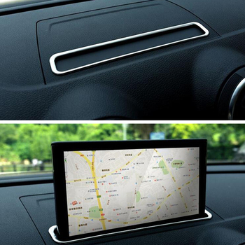 Car Console GPS Navigation Frame Trim Chromium Styling Sticker For Audi A3 8V 2014-2018 Stainless Steel image
