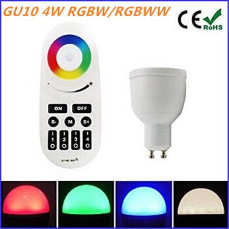 4W GU10 RGBW/RGBWW Milight LED bulb AC85-265V Dimmable Spotlight Bulb + RF Remote Controller for home decoration mi light 2 4g mr16 4w led bulb rgbww rf professional smart led spotlight wireless wifi controller for led bulb ac dc12v