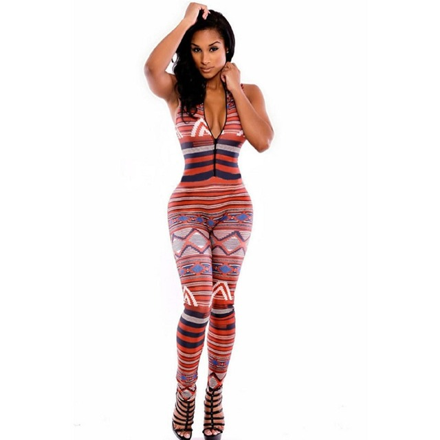2016 Moroccan Bodycon Jumpsuit Tribal Print Overalls Sleeveless Turtleneck Rompers Fitness Jumpsuit Suit for Women 712
