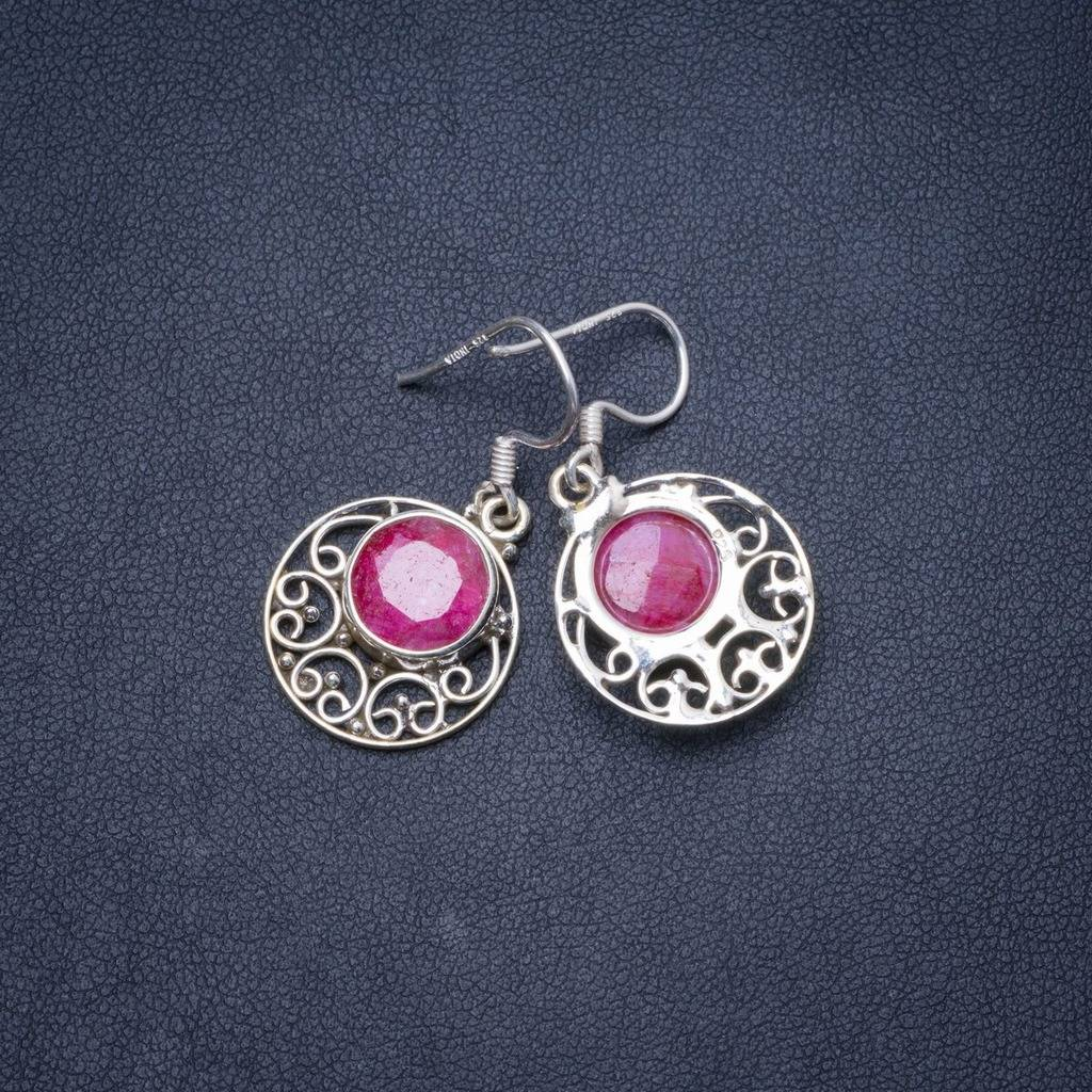 Natural Cherry Ruby Handmade Unique 925 Sterling Silver Earrings 1.25 Y1262 цена