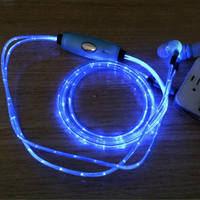 3 Colors Glow Headphone Luminous Light Metal Zipper Earphone Glow In The Dark Headphones Headset For