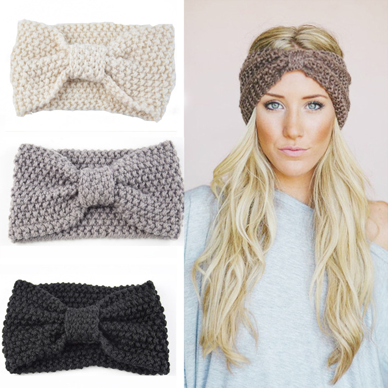 b21df3a7c7a Women Warmer Ear Knitted Bow Headbands Hair Bands Wide Stretch Hairbands  Turban Headwear Headwraps Lady Fashin