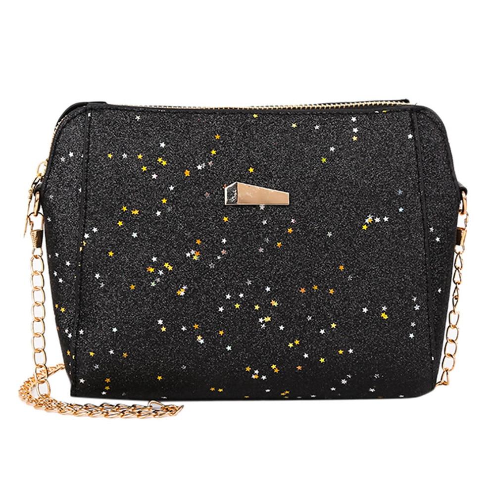 Womens Fashion Solid  Zipper Women Bag Sequins Crossbody Bag Soft Handle Shoulder Bags Messenger Bag#ZS