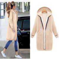 Frauen Warme Winter Fleece Mit Kapuze Parka Mantel Mantel Lange Jacke Frauen Outwear Zipper Weibliche Hoodies S-5XL plus größe sweatshirt