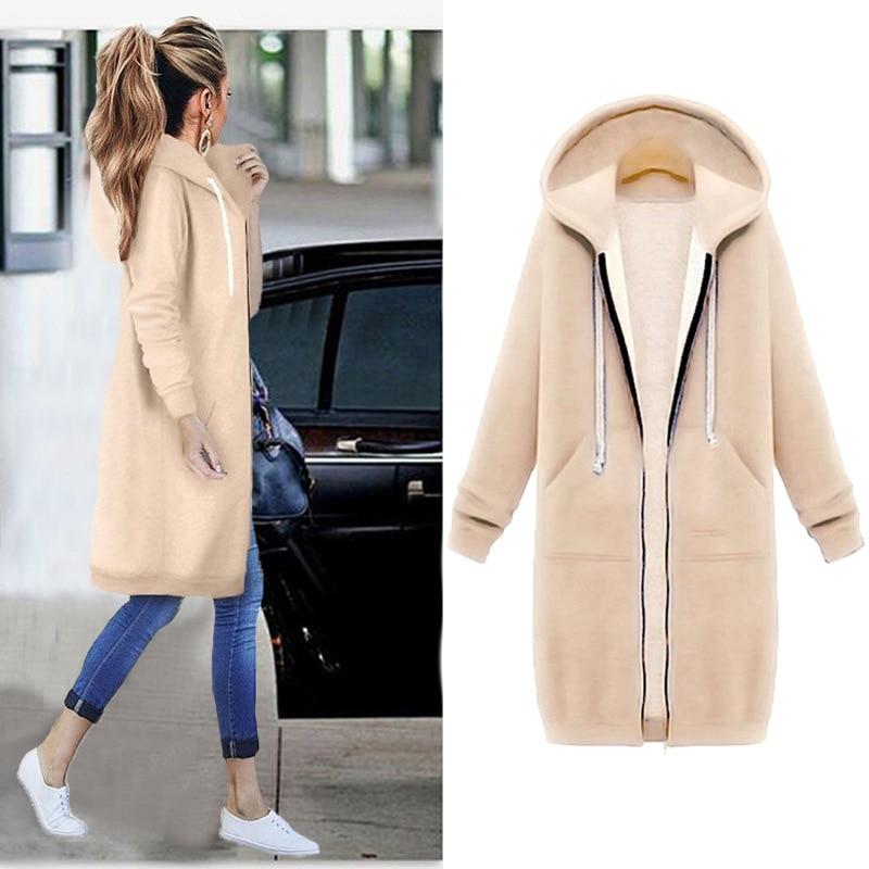Women Warm Winter Fleece Hooded Parka Coat Overcoat Long Jacket Women Outwear Zipper Female Hoodies S Innrech Market.com