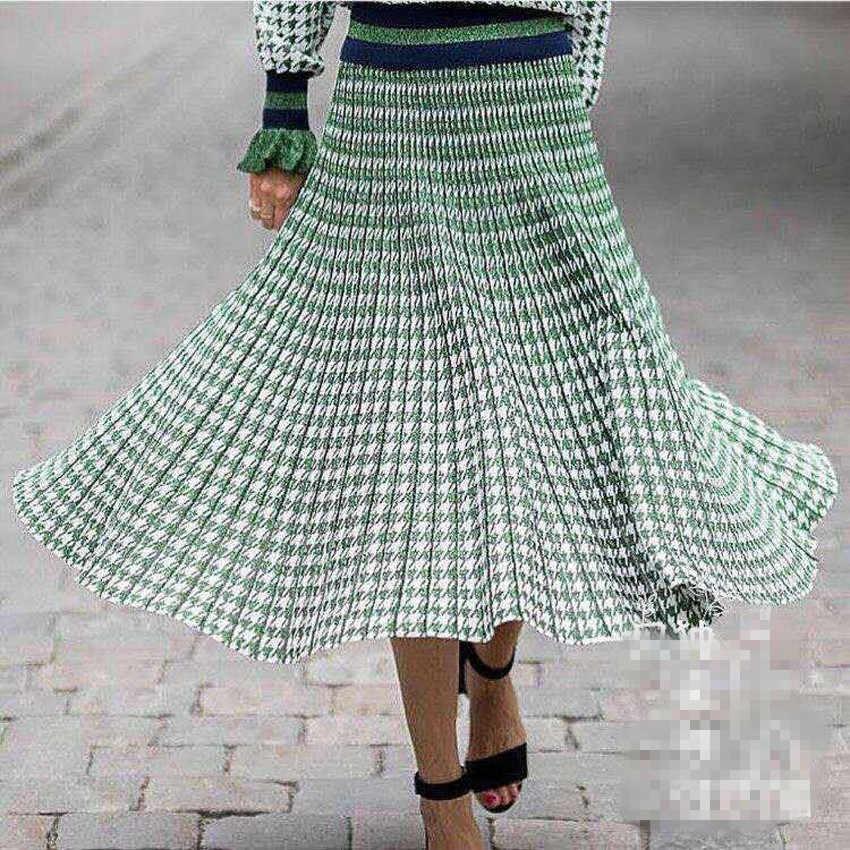 女性ニットロングスカート冬暖かいセーターストライプ a ラインマキシスカートミディニット女性ボトムスカジュアルスイングスカート秋