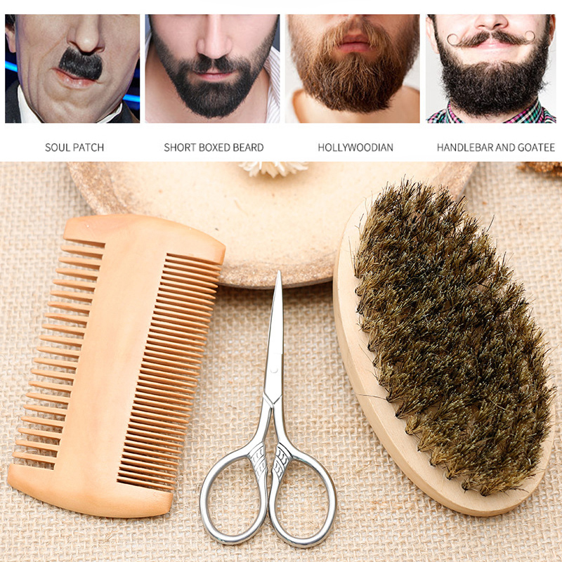 Men Beard Brush Comb Facial Beard Mustache Cleaning Shaving Brush Face Massager Male Face Cleaning Grooming Appliance Tool Set