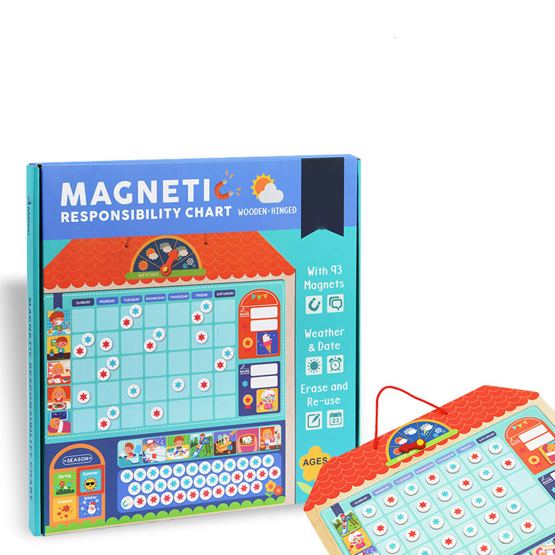 3D Puzzles Toy Montessori Magnetic Responsibility Chart Calendar Schedule Educational Toys for Children Birthday Gift toy032