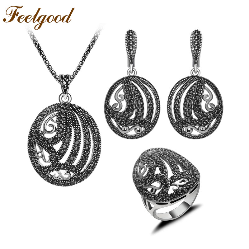 2017 New Arrival Silver Plated Antique Jewellery Hollow Out Oval Plant Shape Vintage Black Rhinestone Jewelry Sets Women Gift