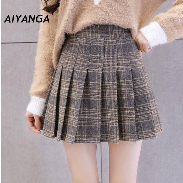 super popular 06017 b7479 Faldas a cuadros de lana para mujer 2018 Otoño Invierno alta cintura  mujeres plisadas Mini Falda corta moda faldas