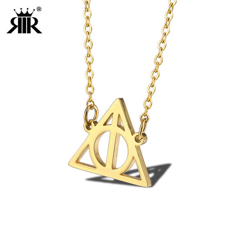 RIR Harri Necklace Stainless Steel Triangle Inspired Deathly Hallows Movie Necklace Potter Jewelry