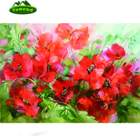 2015 New 3D DIY Diamond Embroidery Flower Red Poppies Abstract Oil Painting Rhinestones Pattern Cross Stitch Needlework Fabric