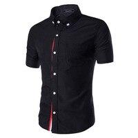Men Shirt Designer Brand 2017 Male Short Sleeve Shirts Casual Slim Fit Black Dress Shirts Mens