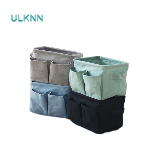 Zakka Style Cotton Linen Storage Basket With Pockets Waterproof  Keys/Sundries Storage Box Multi