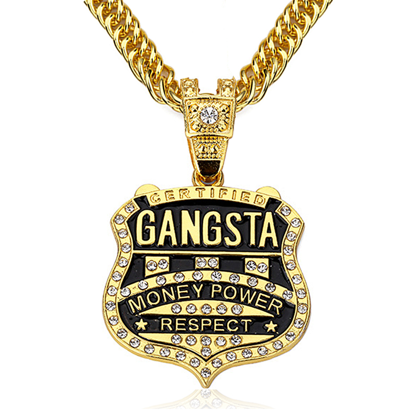90cm Chain GANGSTA Pendant Necklace Men Jewelry Gold Silver Plated Music Rock Hip Hop Rappers Necklaces Mens jewellery Collier la palmyre zoo