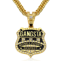 90cm Chain GANGSTA Pendant Necklace Men Jewelry Gold Silver Plated Music Rock Hip Hop Rappers Necklaces