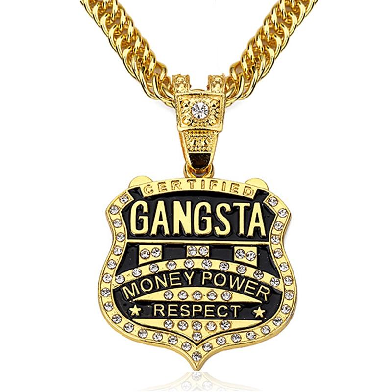 90cm Chain GANGSTA Pendant Necklace Men Jewelry Gold Silver Color ...