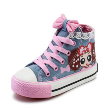 2017 popular flat denim girls shoes cartoon lace high to help bow children canvas shoes Princess casual breathable kids shoes air force no 1 children s shoes 2018 autumn boy leather shoes in the shoes to help girls casual shoes high to help